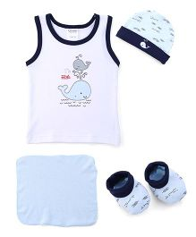 Cloth Gift Set Fly High Print White Blue - 4 Pieces