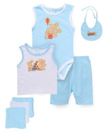 Montaly Cloth Gift Set Bear Print Blue - 7 Pieces