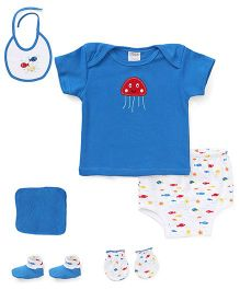 Montaly Cloth Gift Set Fish Print White Blue - 6 Pieces