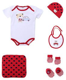 Montaly Cloth Gift Set Bear Print Red White - 6 Pieces