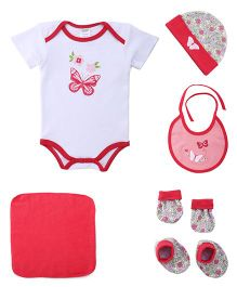 Montaly Cloth Gift Set Butterfly Print Pink White Red - 6 Pieces