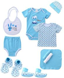 Montaly Cloth Gift Set Animal Print White Blue - 10 Pieces