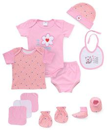 Montaly Cloth Gift Set I Love Mom Print Pink - 10 Pieces