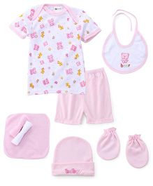 Montaly Cloth Gift Set Teddy Bear Print White Pink - 8 Pieces