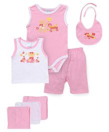Montaly Cloth Gift Set Bear Print Pink - 7 Pieces