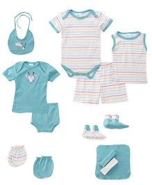 Montaly Cloth Gift Set Heart Print White Sea Green - 14 Pieces