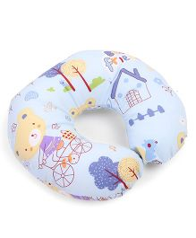Neck Support Pillow Teddy Print - Sky Blue