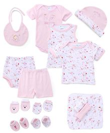 Montaly Cloth Gift Set Bunny Print Pink - 14 Pieces
