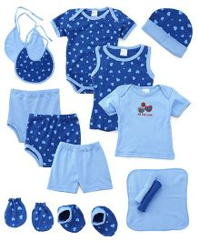 Montaly Cloth Gift Set Heart Print Blue - 14 Pieces