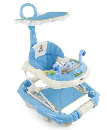 Musical Baby Walker With Push Handle - Blue Cream