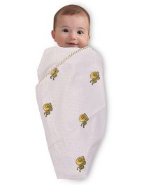 Mom's Home Organic Cotton Dohar Cum Swaddle Double Layer Turtle Print - White Golden