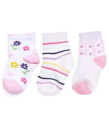 Footprints Super Soft Organic Cotton Socks Flowers, Stripes & Heart Design Pack Of 3 - White Pink