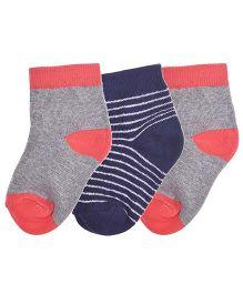 Footprints Super Soft Organic Cotton Stripes Design Socks Pack Of 3 - Navy Red