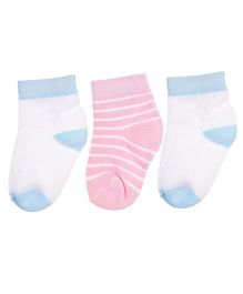 Footprints Super Soft Organic Cotton Heel Toe & Stripe Design Socks Pack Of 3 - Blue White Pink