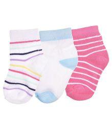 Footprints Super Soft Organic Cotton Stripes Design & Plain Socks Pack Of 3 - White Pink Blue
