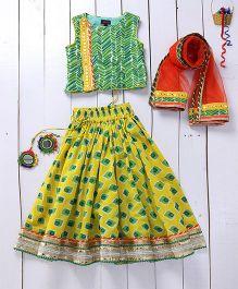 Pspeaches Mirror Work Lehenga Choli With Mang Tikka & Ring - Yellow