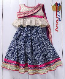 Pspeaches Lehenga With Attached Dupatta With Mang Tikka & Ring - Indigo