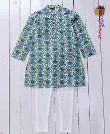 Pspeaches Cotton Printed Kurta Pyjama - Blue