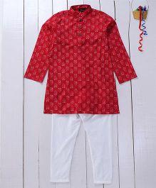 Pspeaches Cotton Printed Kurta Pyjama - Red