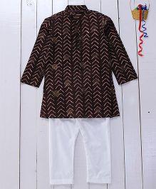 Pspeaches Cotton Printed Kurta Pyjama - Brown
