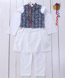 Pspeaches Cotton Kurta Pyjama With Jacket - Blue & White