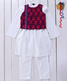 Pspeaches Cotton White Kurta Pyjama With Jacket - Purple