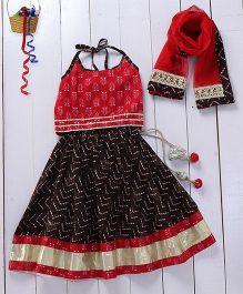 Pspeaches Halter Neck Beautiful Lehenga Choli - Brown & Red