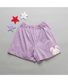 De-Nap Bunny Applique Shorts - Purple