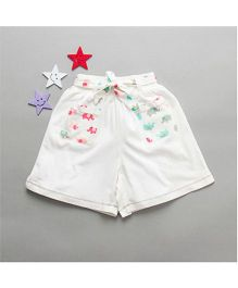 De-Nap Elephant Printed Pockets Shorts - White