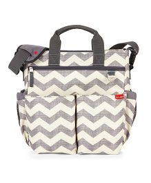 Skip Hop Duo Signature Diaper Bag With Portable Changing Mat - White Grey