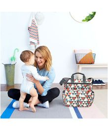 Skip Hop Duo Signature Diaper Bag With Portable Changing Mat Triangles Design - Multi Color