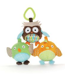 Skip Hop Treetop Friends Animal Trio Clip On Toys Pack Of 3 - Multi Color