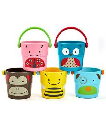 Skip Hop Zoo Bath Stack And Pour Bucket Rinse Cups Multicolor - 5 Assorted