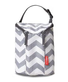Skip Hop Grab-and-Go Insulated Double Bottle Bag Chevron Design - Grey White