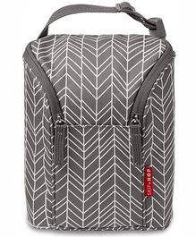 Skip Hop Grab and Go Double Bottle Bag Feather Design - Grey