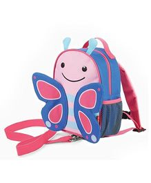 Skip Hop Mini Backpack With Rein Butterfly Design Pink Blue - 7.5 inches