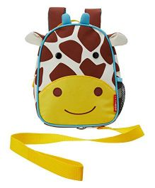 Skip Hop Mini Backpack With Rein Giraffe Design Brown White Yellow - 7.5 inches