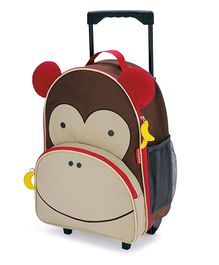 Skip Hop Travel Rolling Luggage Backpack Marshall Monkey Design Brown - 17 inches