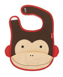 Skiphop Zoo Tuck-Away Bib Marshall Monkey Design- Brown