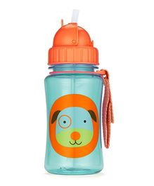 Skiphop Zoo Sipper Bottle With Straw Darby Dog Print Blue - 350 ml