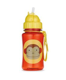 Skiphop Zoo Sipper Bottle With Straw Marshall Monkey Print Red - 350 ml