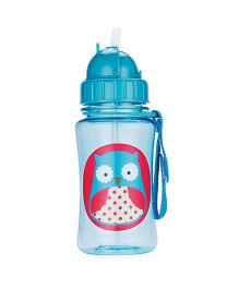 Skiphop Zoo Sipper Bottle With Straw Otis Owl Print Blue - 350 ml