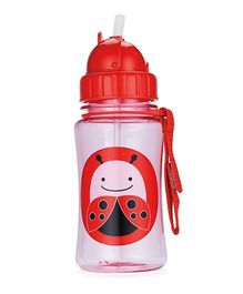 Skiphop Zoo Sipper Bottle With Straw Livie Ladybug Print Pink - 350 ml