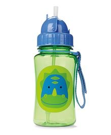 Skiphop Zoo Sipper Bottle With Straw Dakota Dinosaur Print Green - 350 ml