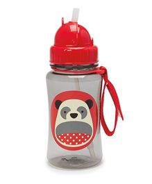 Skiphop Zoo Sipper Bottle With Straw Panda Print Grey - 350 ml