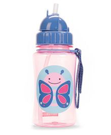 Skip Hop Zoo Straw Bottle Butterfly Print Blue Pink - 354 ml