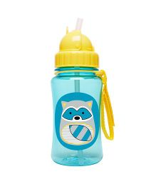 Skiphop Zoo Sipper Bottle With Straw Riggs Racoon Print Blue - 350 ml