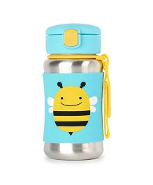Skip Hop Baby Zoo Feeding Travel-To-Go Insulated Stainless Steel Straw Bottle Bee Design Aqua Blue - 350 ml