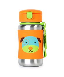 Skip Hop Baby Zoo Feeding Travel-To-Go Insulated Stainless Steel Straw Bottle Darby Dog Design Orange - 350 ml