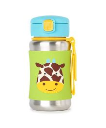 Skip Hop Baby Zoo Feeding Travel-To-Go Insulated Stainless Steel Straw Bottle Green - 350 ml
